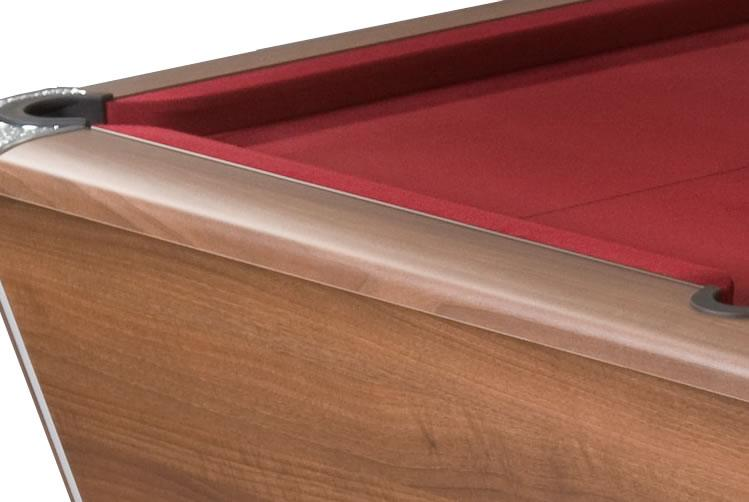Supreme Winner Pool Table in Walnut Finish with Burgundy Cloth