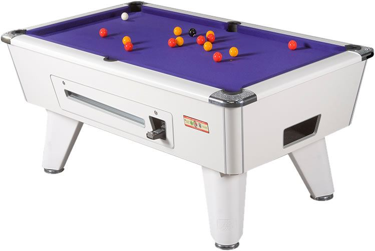 Supreme Winner Pool Table in White Finish with Purple Cloth