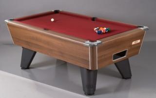 Supreme Winner Pool Table Walnut Finish Burgundy Cloth