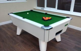 Supreme Winner Pool Table White Finish Green Cloth