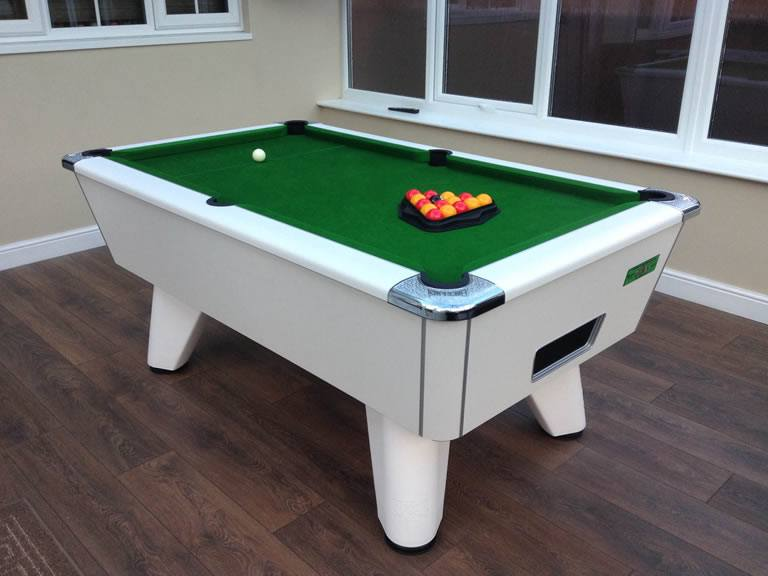 Supreme Winner Pool Table in White Finish with Green Cloth