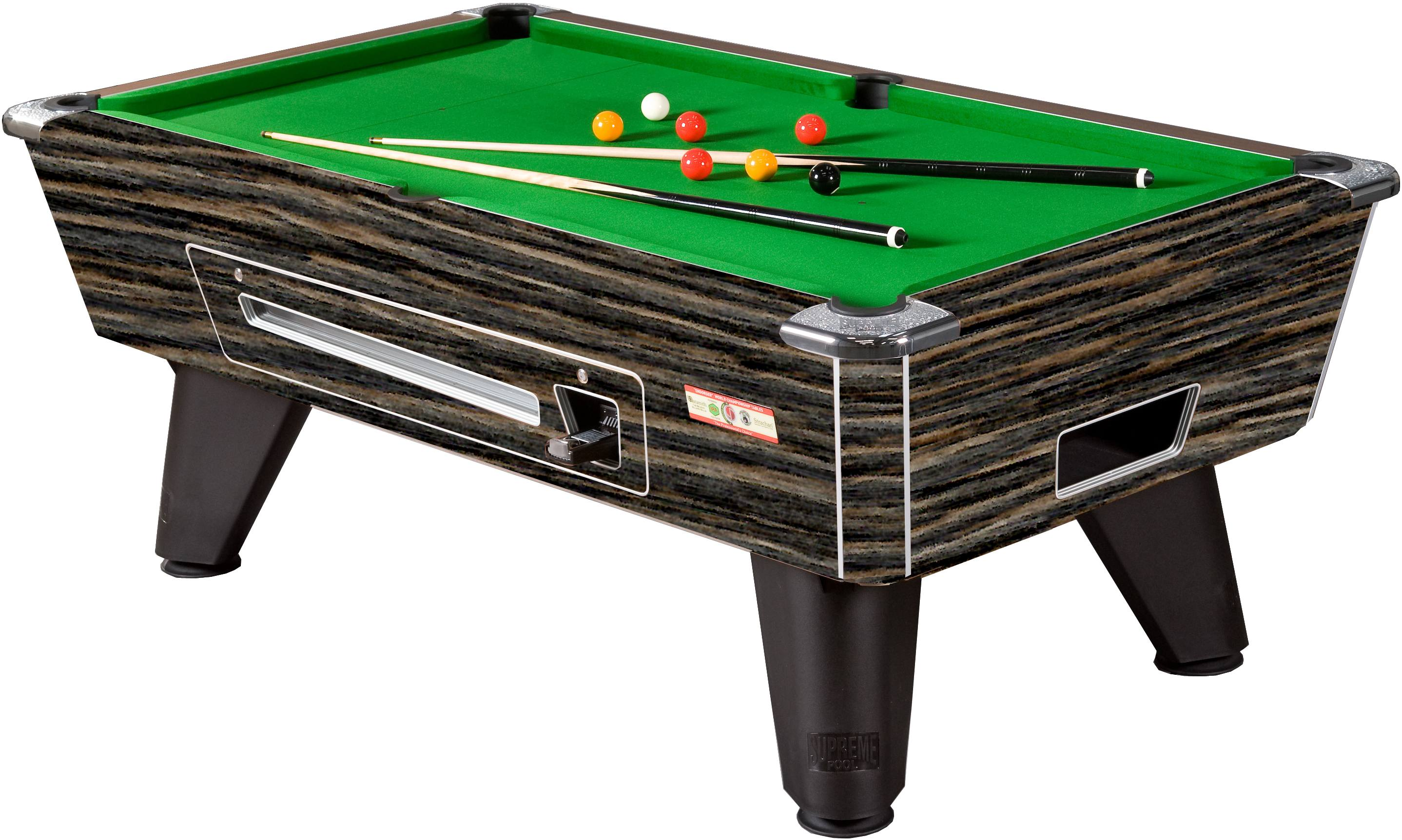 Supreme Winner Pool Table in Rustic Finish with Green Cloth