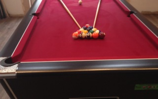 Supreme Winner Pool Table Black Finish with Burgundy Cloth