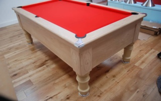 Supreme Prince Pool Table Oak Finish Red Cloth