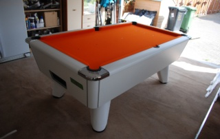 Supreme Winner Pool Table White Finish with Orange Cloth