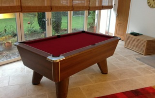Supreme Winner Pool Table Walnut Finish Burgundy Cloth
