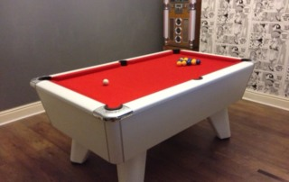 Supreme Winner Pool Table White Finish Red Cloth