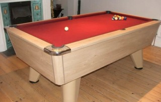 Supreme Winner Pool Table Oak Finish with Red Cloth